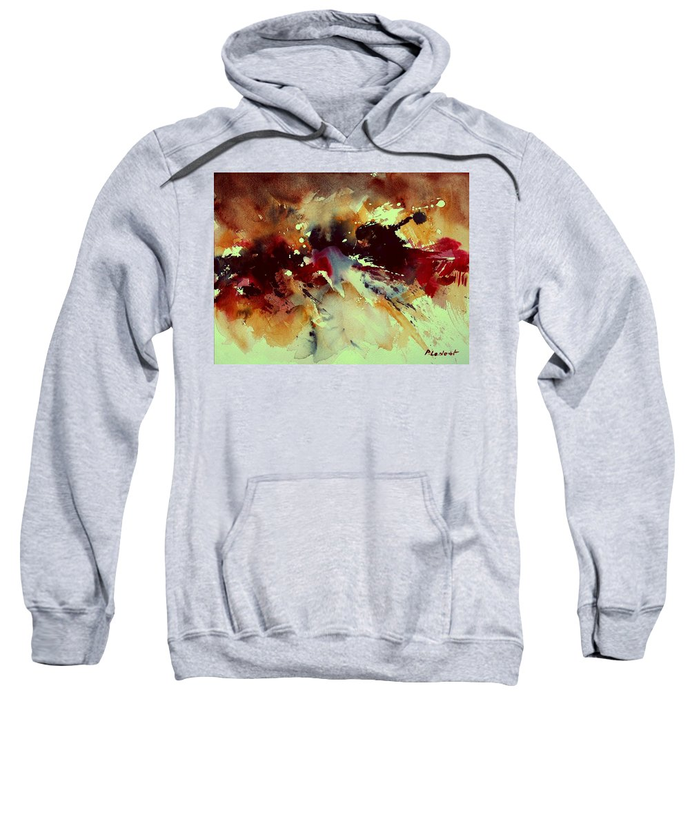 Abstract Sweatshirt featuring the painting Watercolor 301107 by Pol Ledent