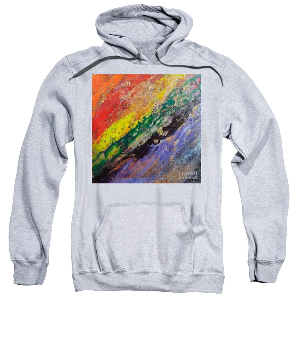 Waterfall Sweatshirt featuring the painting Waterfall by Dragica Micki Fortuna