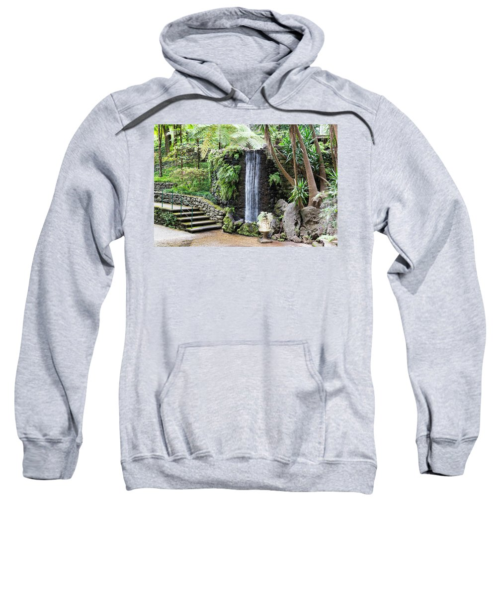 Madeira Sweatshirt featuring the photograph waterfall in tripcal garden Monte Madeira by Compuinfoto