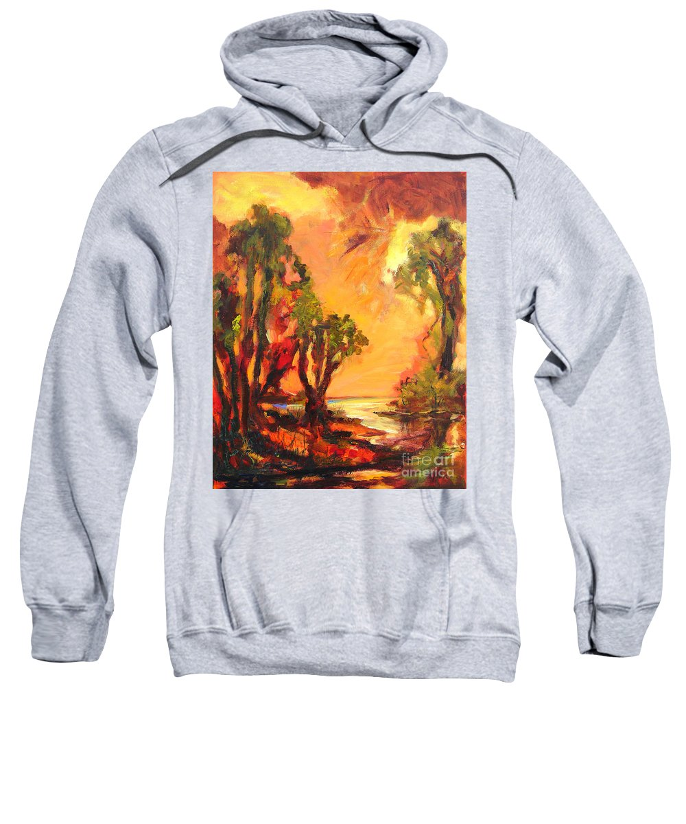 Framed Landscape Prints Sweatshirt featuring the painting Waterway by Julianne Felton