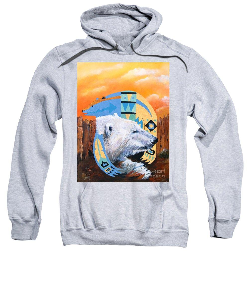 Polar Bear Sweatshirt featuring the painting White Bear goes Southwest by J W Baker