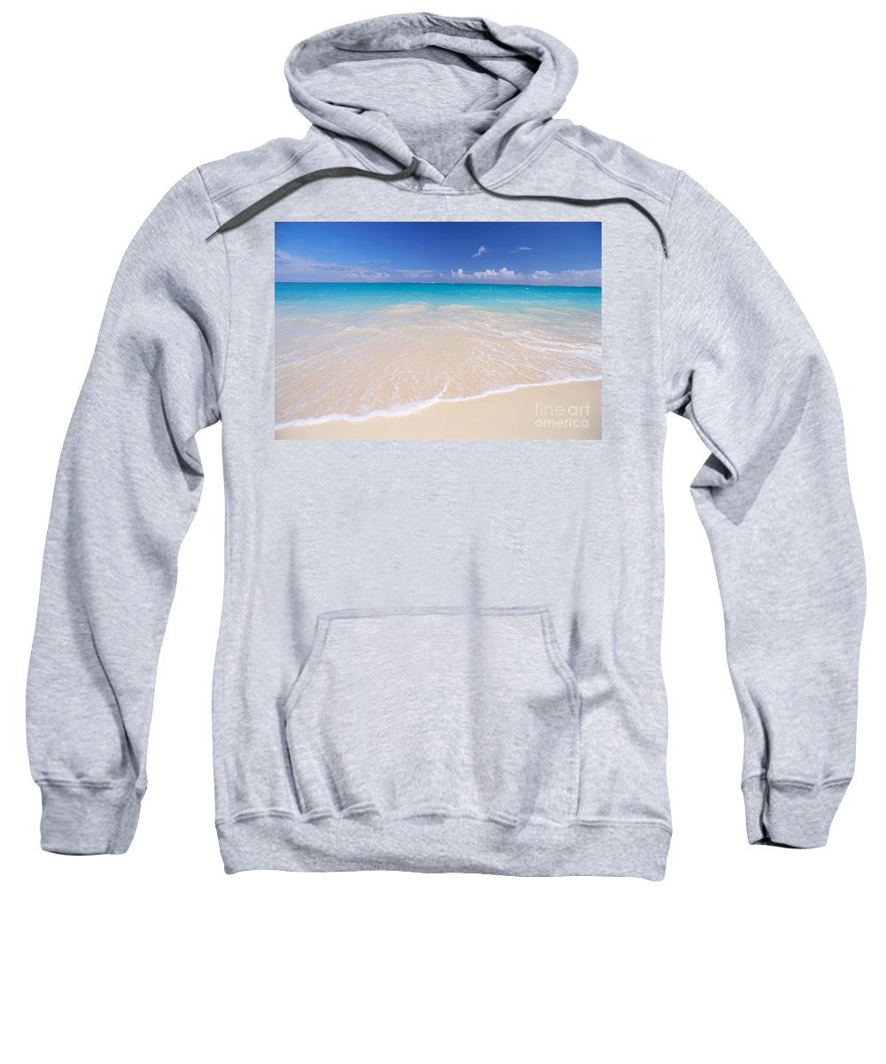 Beach Sweatshirt featuring the photograph White Sand Beach by Mary Van de Ven - Printscapes