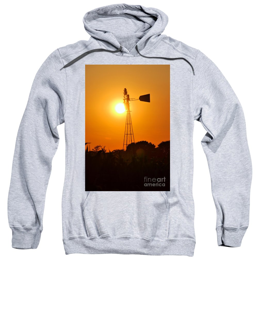 Sunset Sweatshirt featuring the photograph Windmill by George Mattei