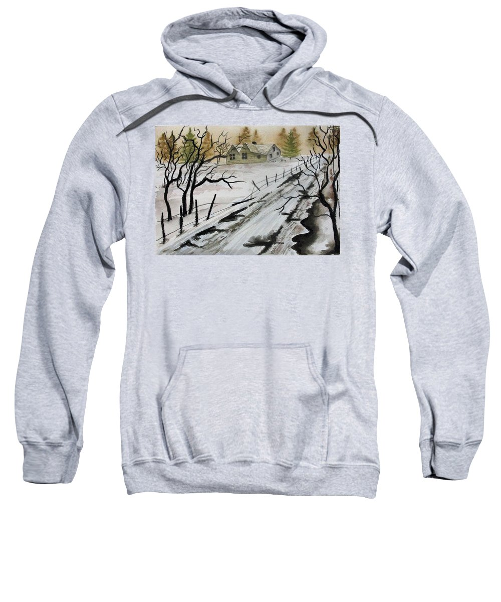 Building Sweatshirt featuring the painting Winter Farmhouse by Jimmy Smith