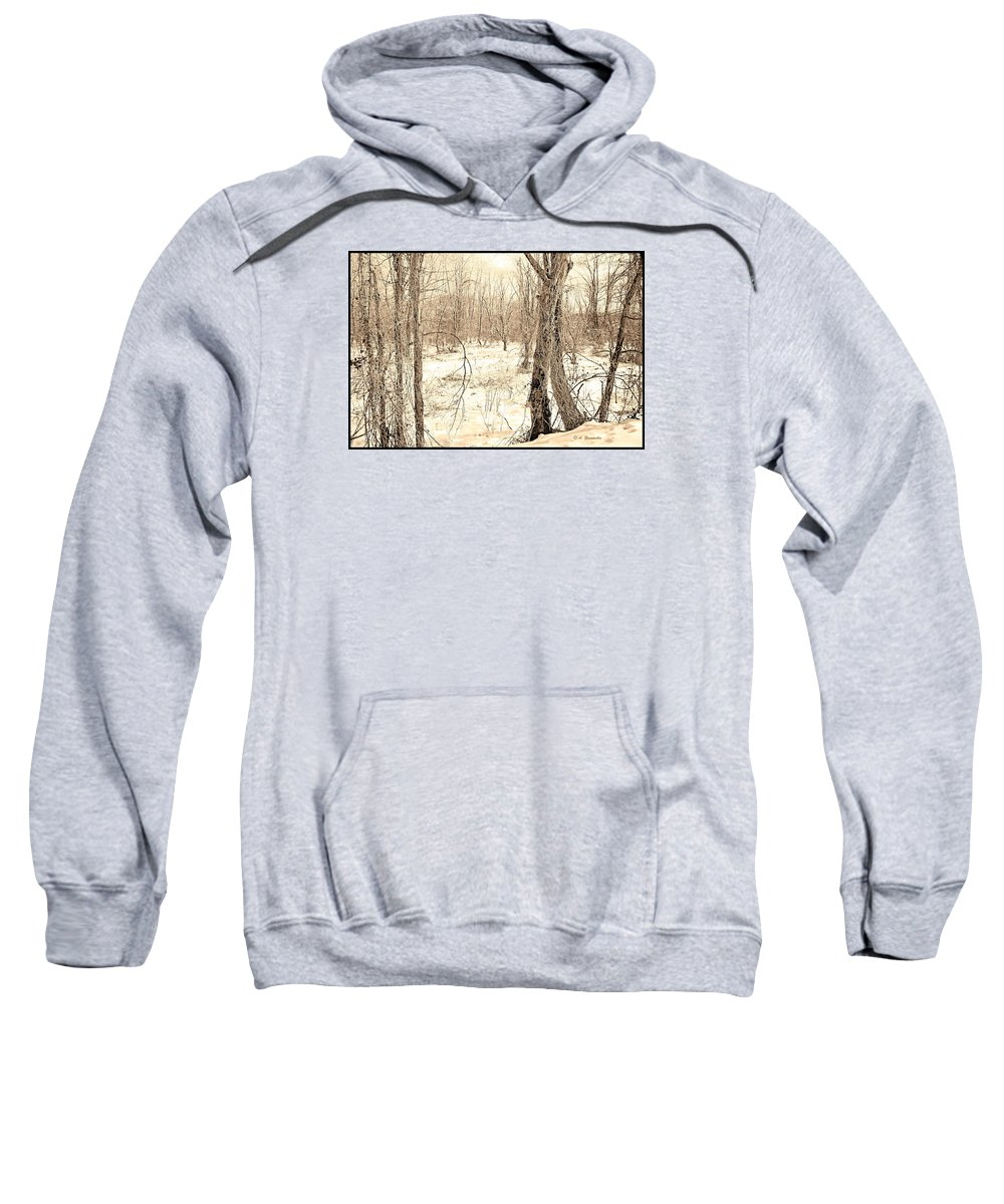 Digital Art Sweatshirt featuring the digital art Winter Scene, Montgomery County, Pennsylvania by A Gurmankin
