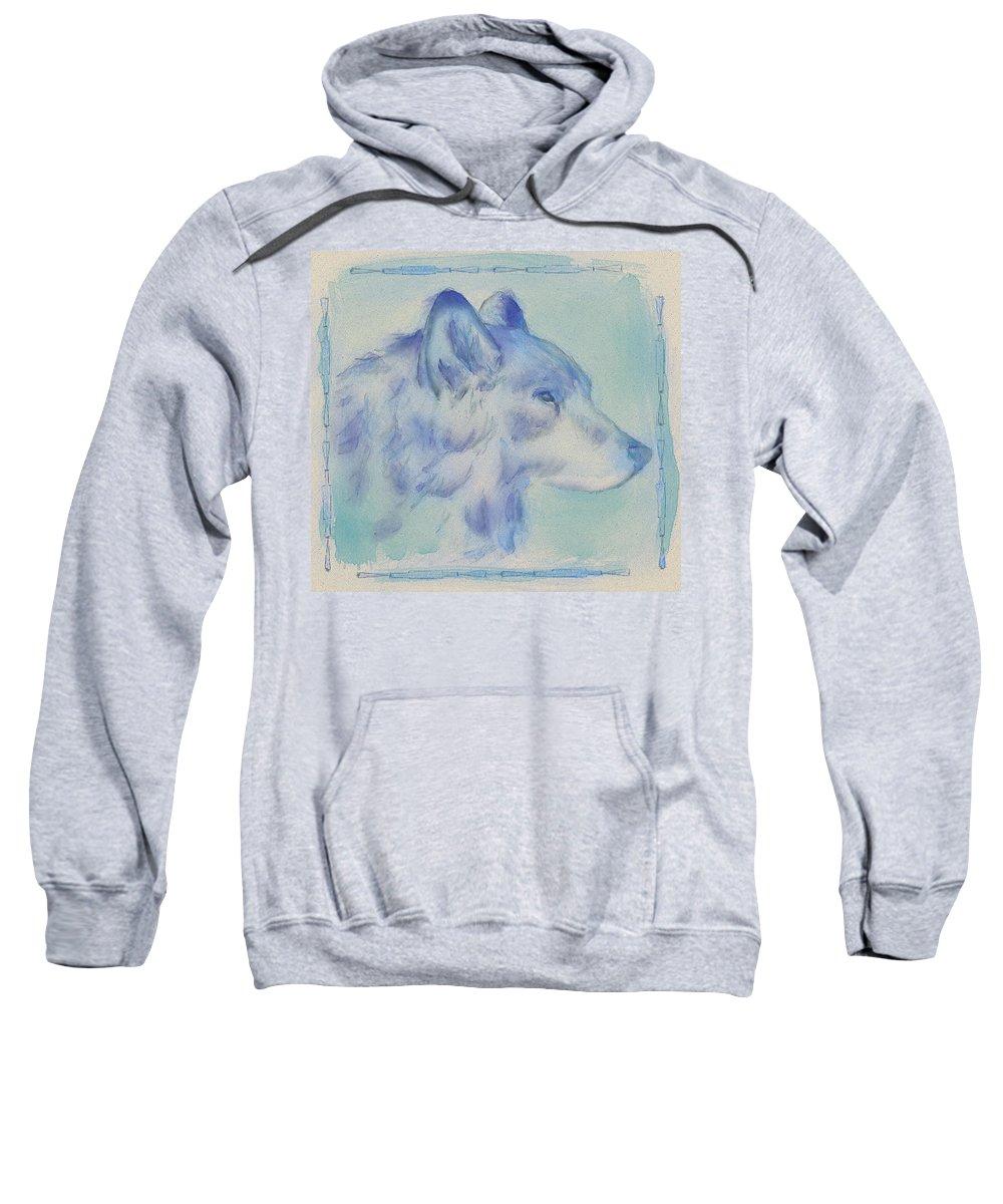 Wolf Sweatshirt featuring the digital art Wolf by Crystal Hubbard