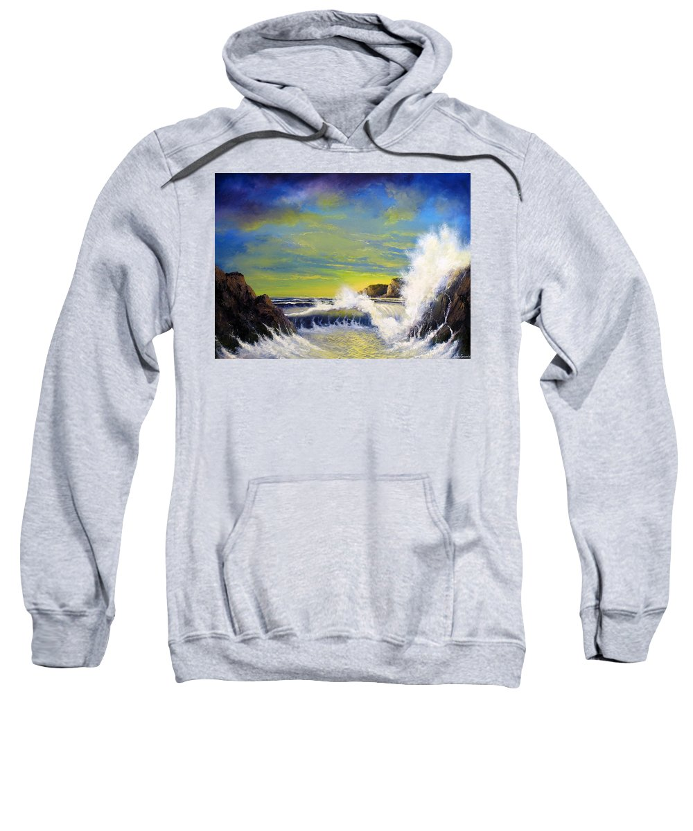 Seascape Sweatshirt featuring the painting Yellow Light by John Cocoris