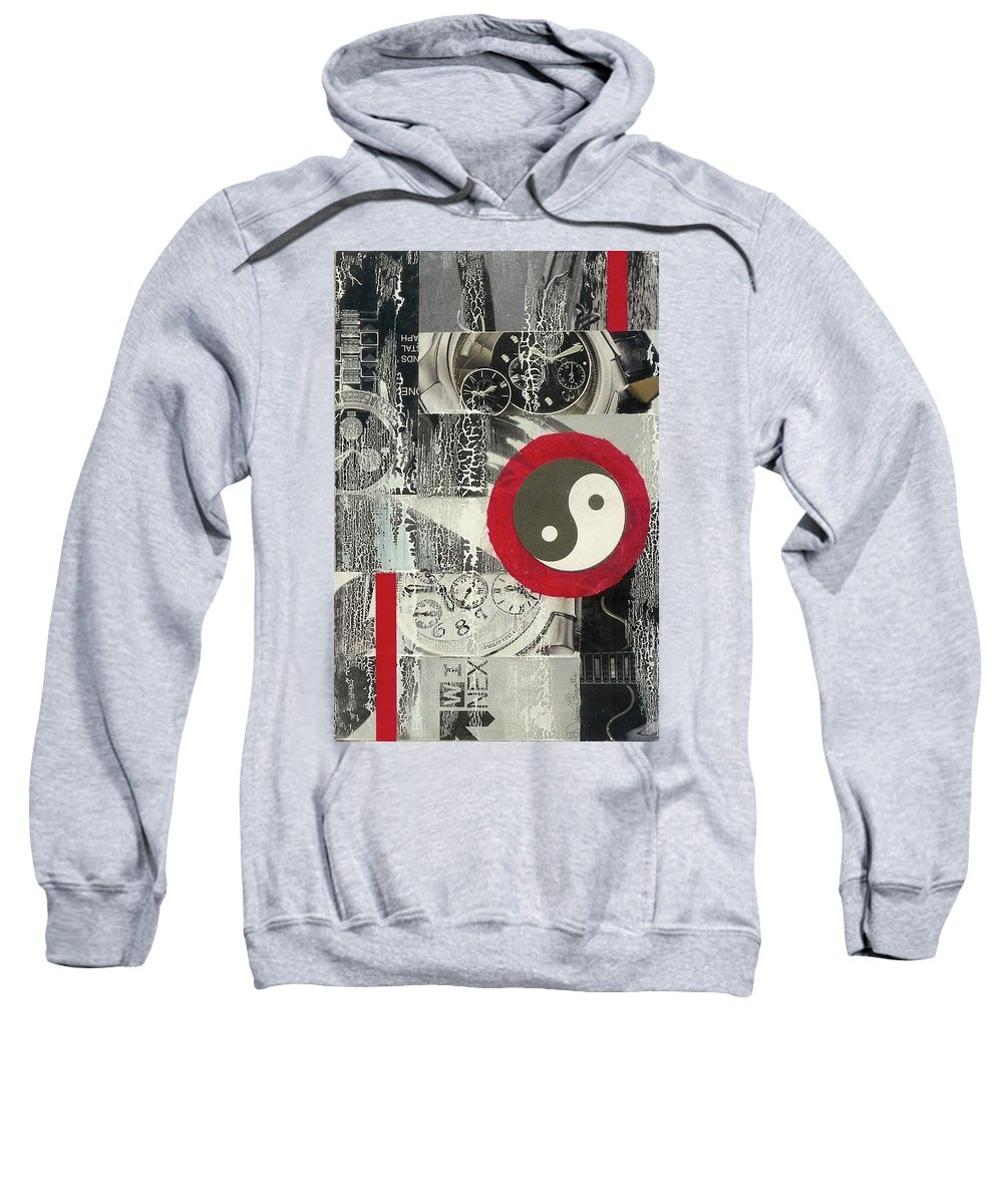 Black Sweatshirt featuring the mixed media Ying Yang by Desiree Paquette