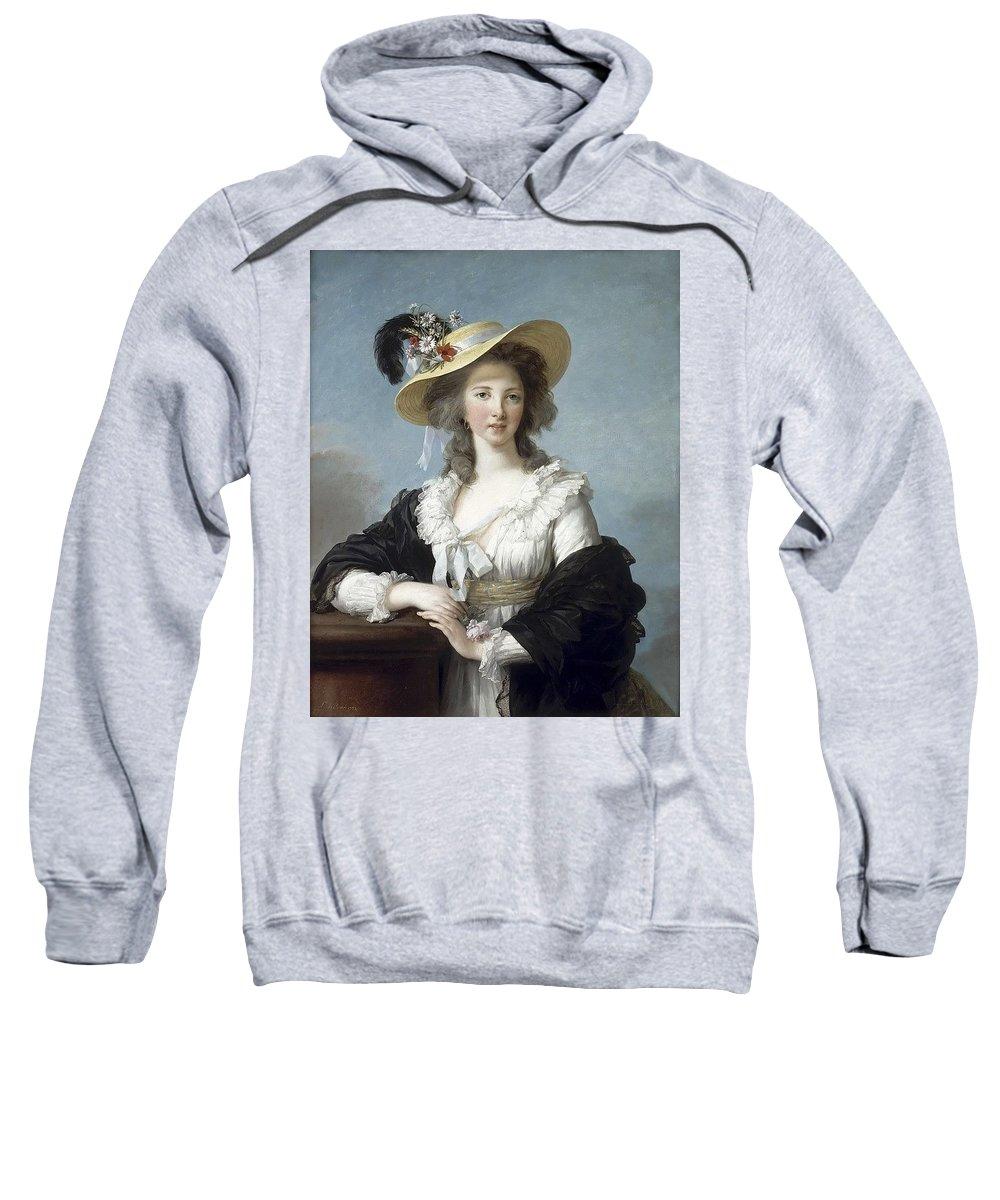 Hat Sweatshirt featuring the digital art Yolande-martine-gabrielle De Polastron Duchesse De Polignac Lisabeth Louise Vige Le Brun by Eloisa Mannion