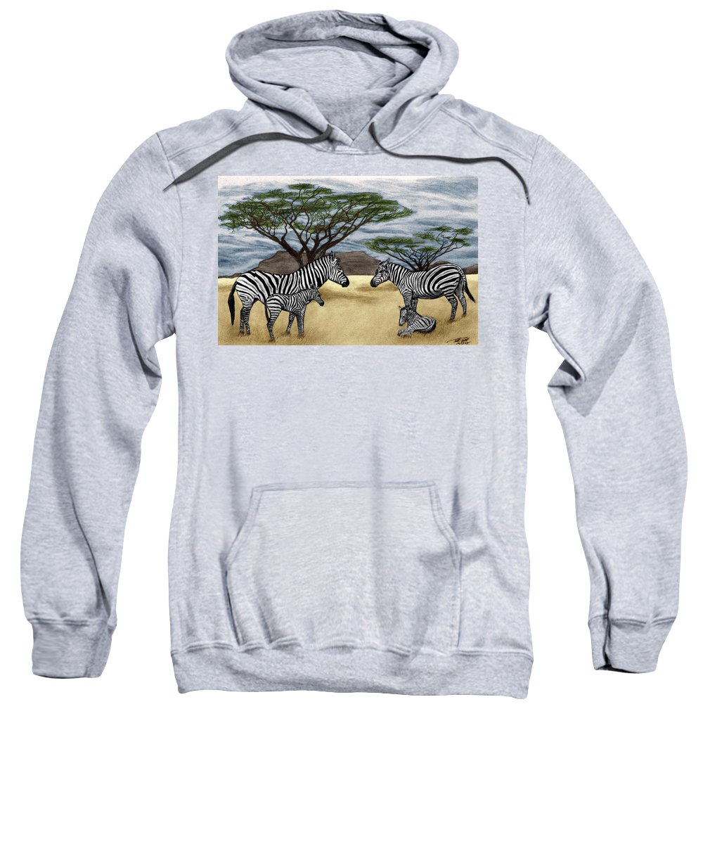 Zebra African Outback Sweatshirt featuring the drawing Zebra African Outback by Peter Piatt