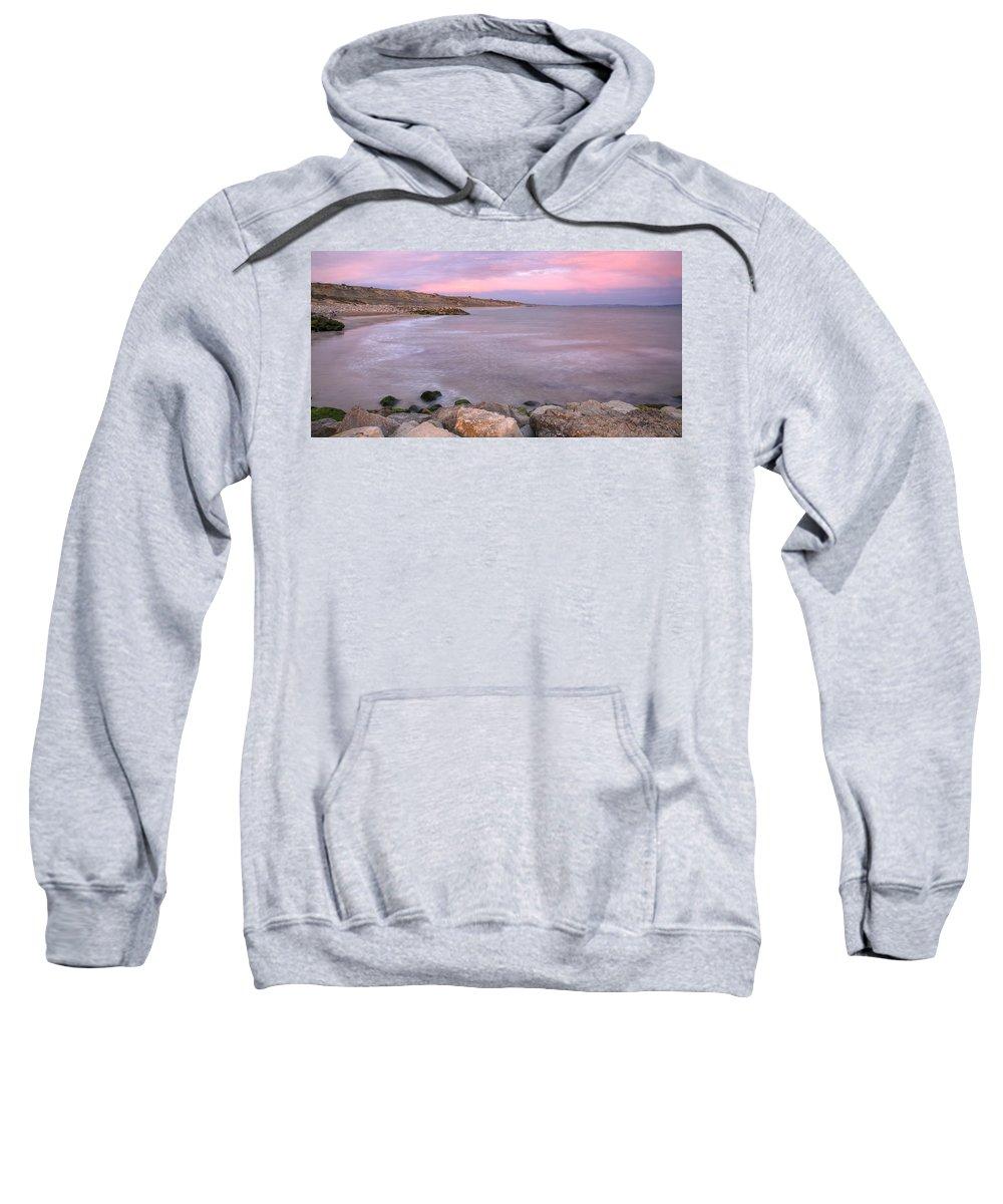 Highcliffe Sweatshirt featuring the photograph Highcliffe Beach In Dorset by Ian Middleton