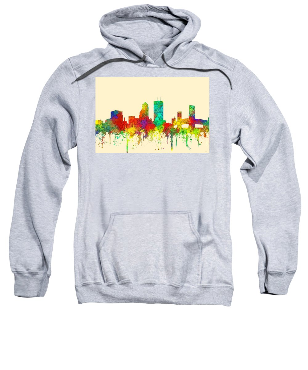 Jacksonville Florida Skyline Sweatshirt featuring the digital art Jacksonville Florida Skyline by Marlene Watson