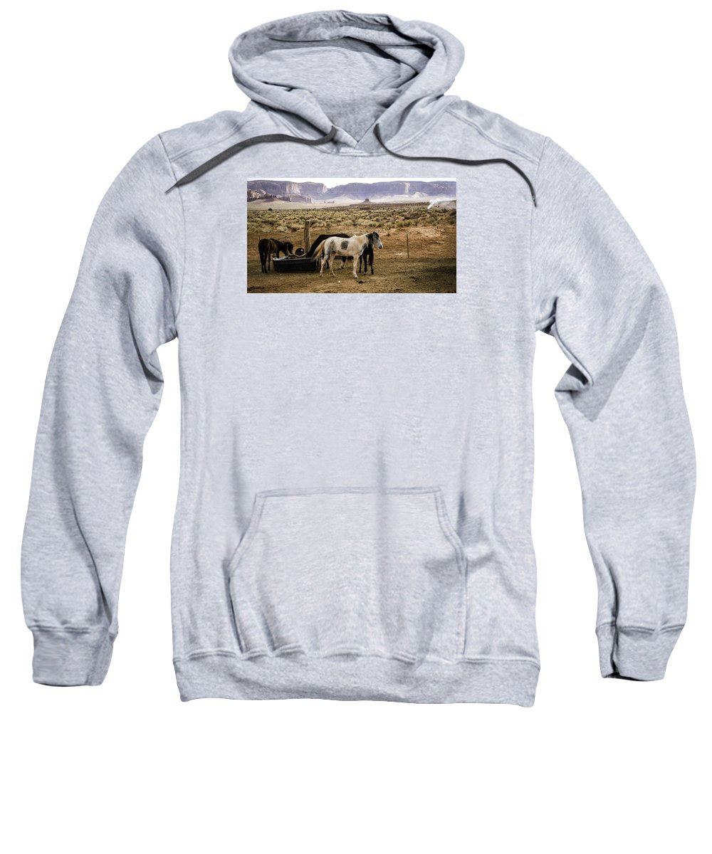 Monument Valley. Horses Sweatshirt featuring the photograph 102 by Garth Pillsbury