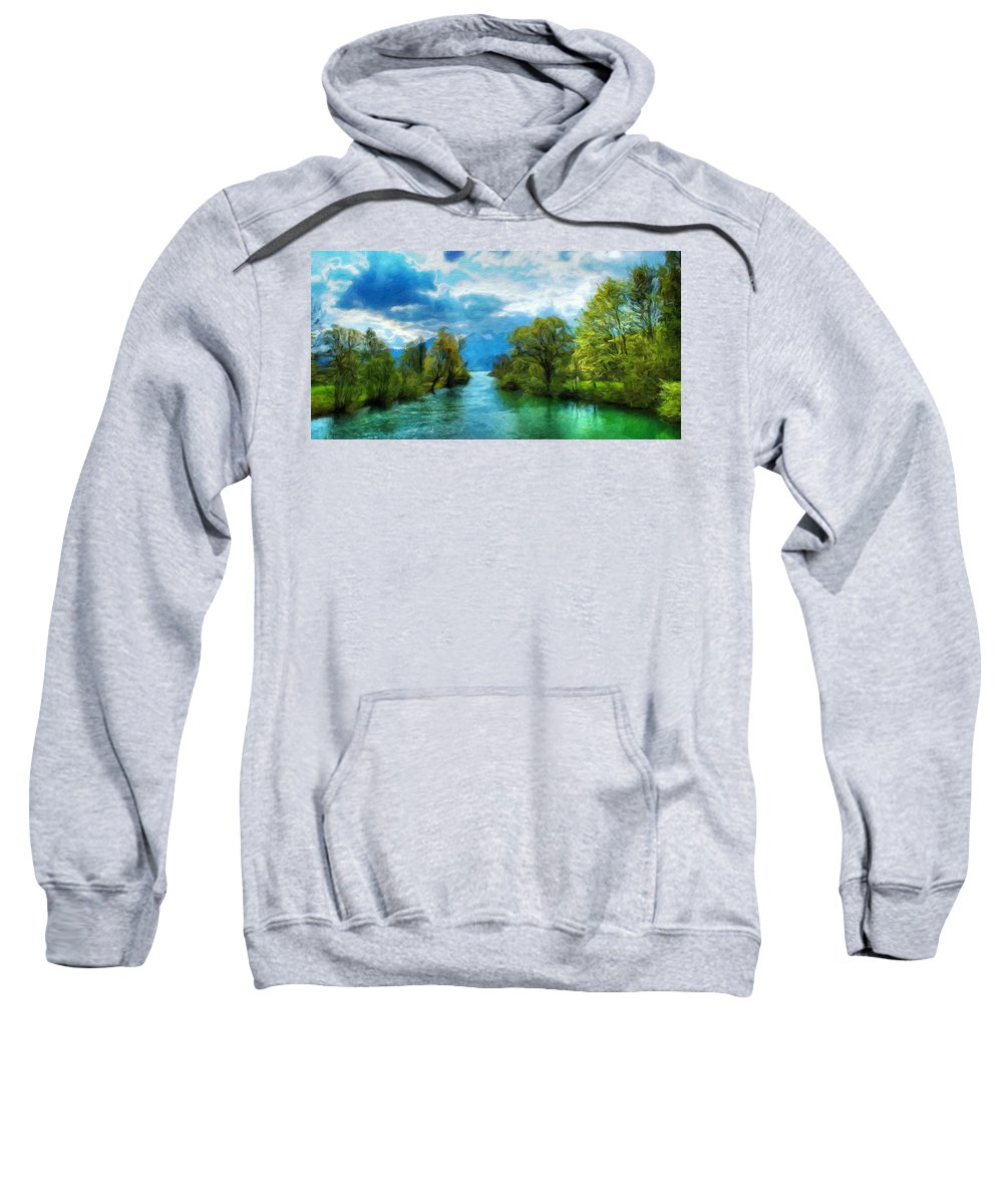 Landscape Sweatshirt featuring the painting Nature New Landscape by World Map