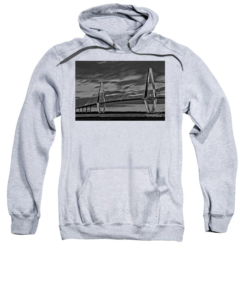 Ravenel Bridge Sweatshirt featuring the photograph Ravenel Bridge Black And White Sunset by Adam Jewell