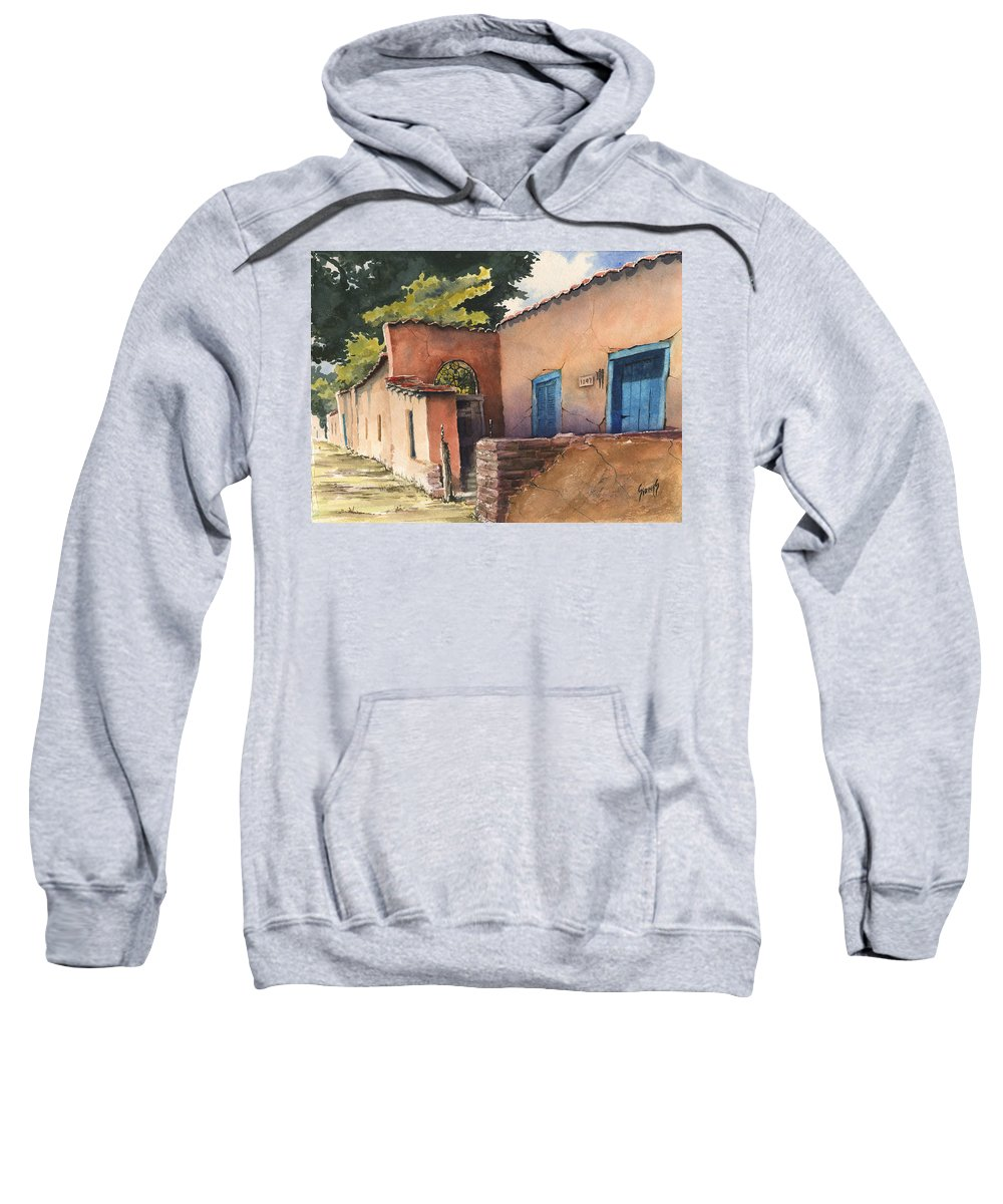 Adobe Sweatshirt featuring the painting 1247 Agua Fria Street by Sam Sidders