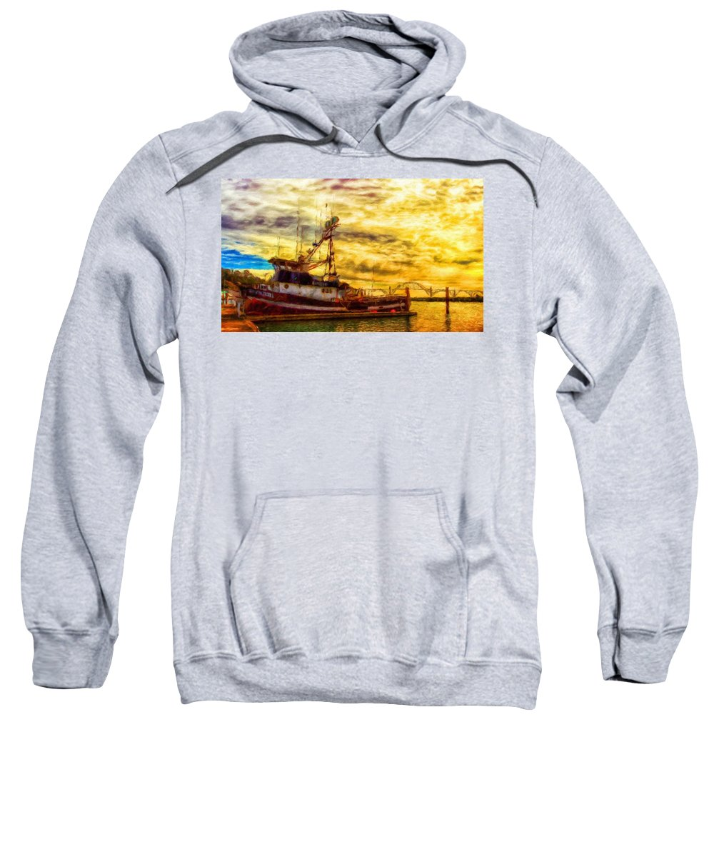 Landscape Sweatshirt featuring the painting Nature Oil Canvas Landscape by World Map