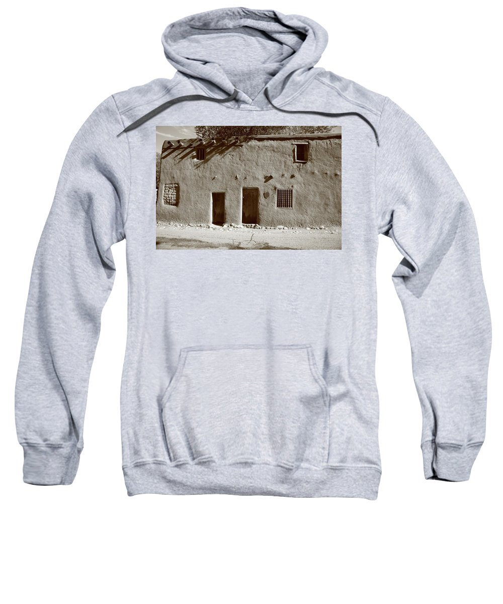 Adobe Sweatshirt featuring the photograph Santa Fe - Adobe Building by Frank Romeo