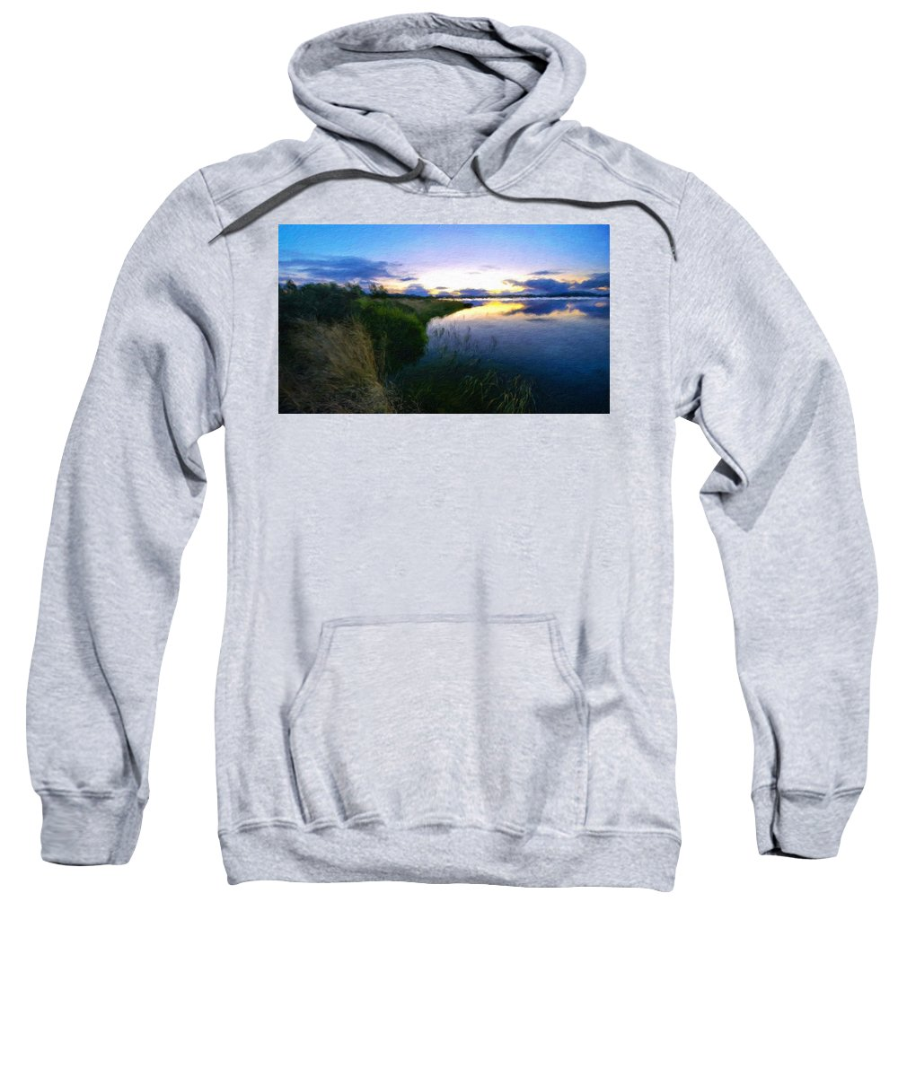 Landscape Sweatshirt featuring the painting Nature Original Landscape Painting by World Map