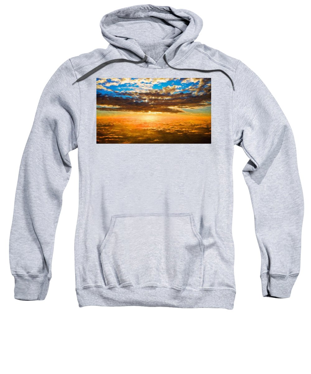 Landscape Sweatshirt featuring the painting Landscape Paintings Nature by World Map