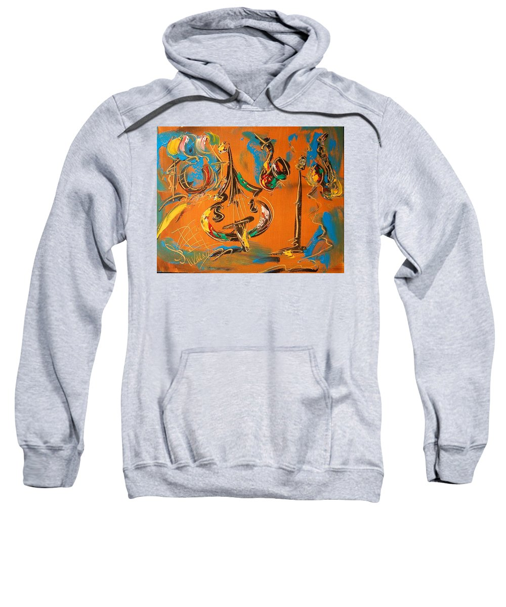 Surreal Framed Prints Sweatshirt featuring the painting Jazz by Mark Kazav
