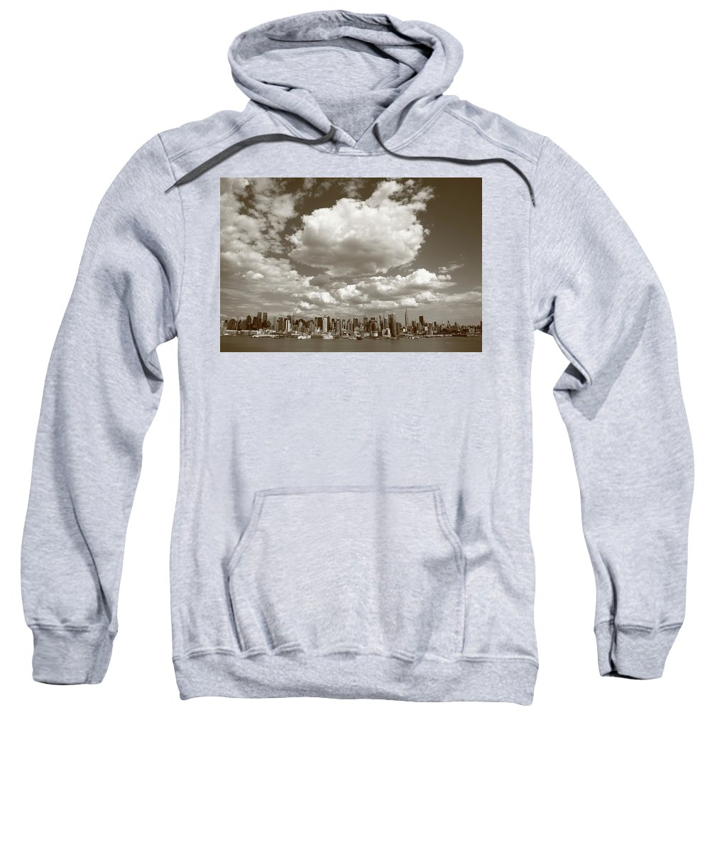 America Sweatshirt featuring the photograph New York City Skyline by Frank Romeo
