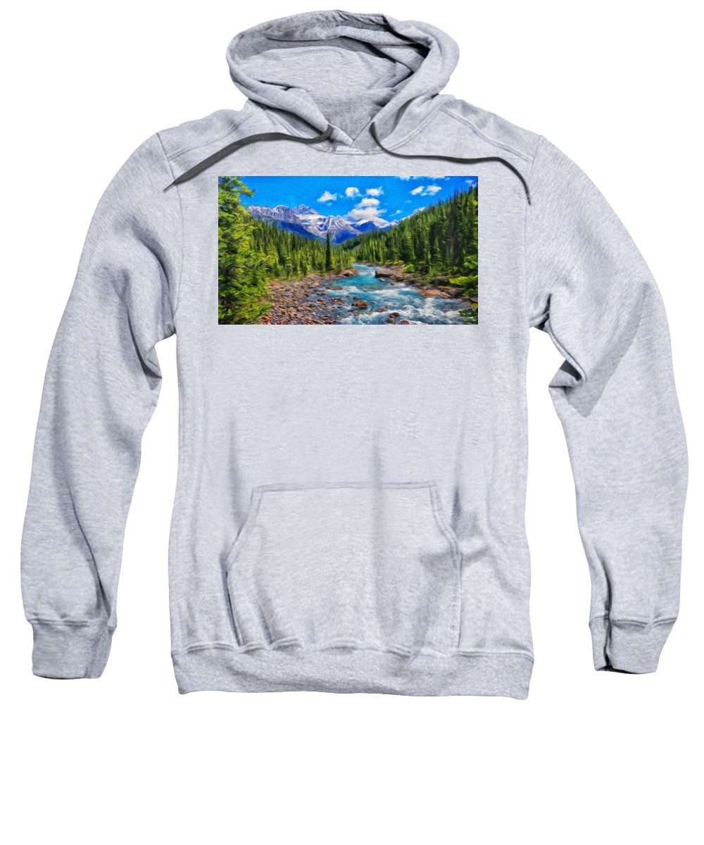 Landscape Sweatshirt featuring the painting Nature Oil Painting Landscape by World Map