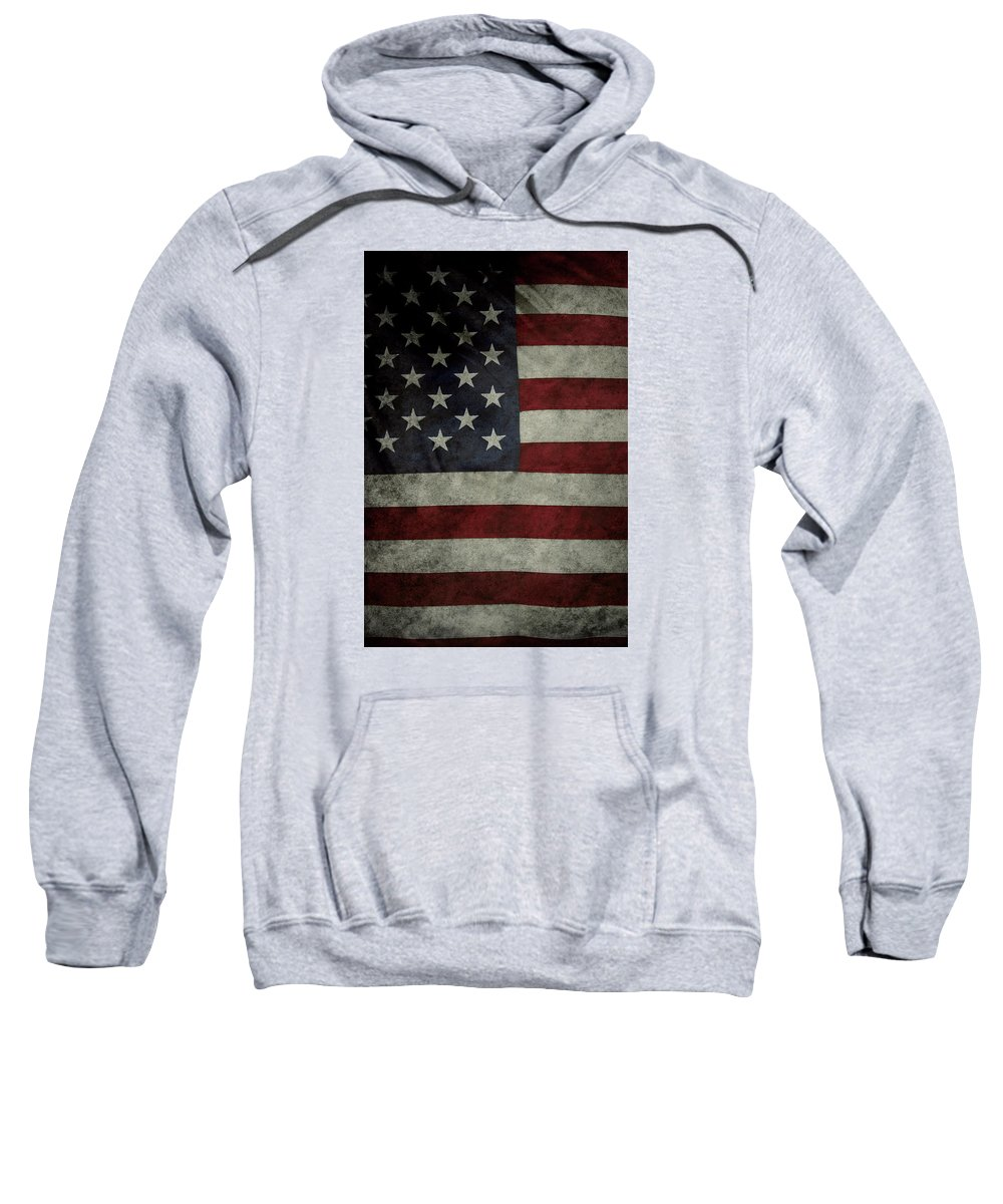 Closeup Sweatshirt featuring the photograph American Flag by Les Cunliffe