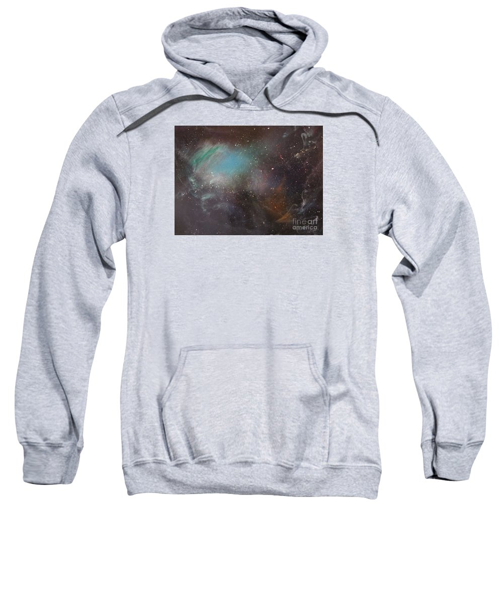 Abstract Sweatshirt featuring the painting 170,000 Light Years From Home by Lorraine Centrella