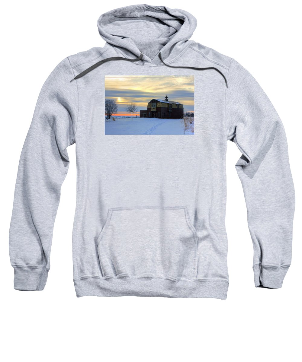 Barn Sweatshirt featuring the photograph 1888 Barn In Winter 02 by Frank Thuringer