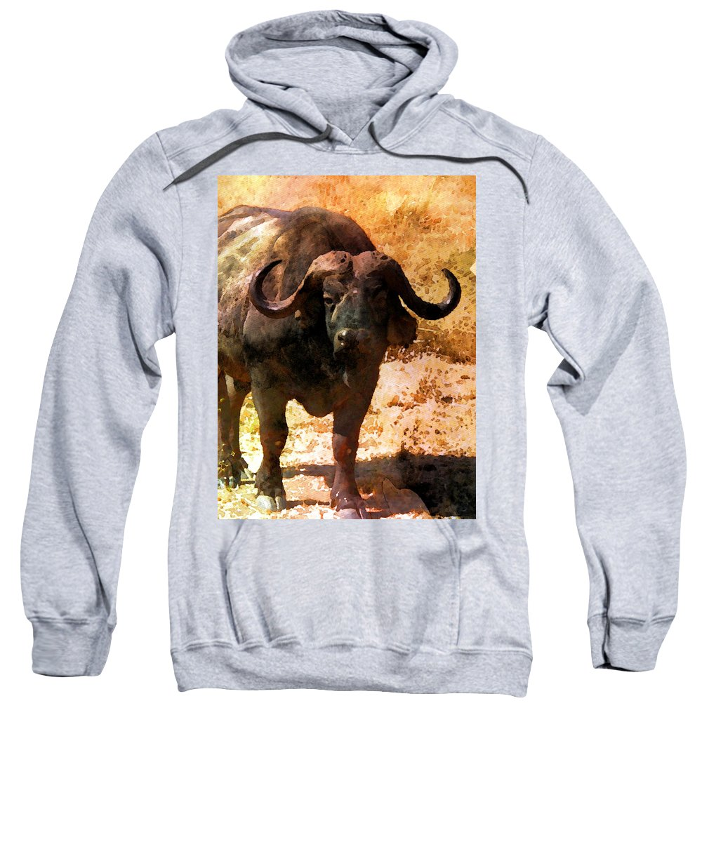 Beast Sweatshirt featuring the digital art Buffalo by Nadezhda Zhuravleva