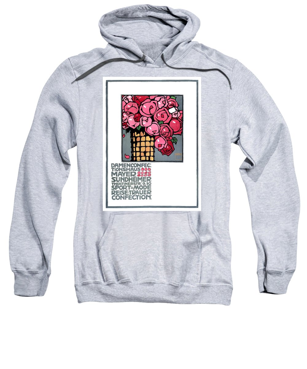 Ludwig Hohlwein Sweatshirt featuring the digital art 1909 Ludwig Hohlwein Mayer Sundheimer Advertising Poster by Retro Graphics