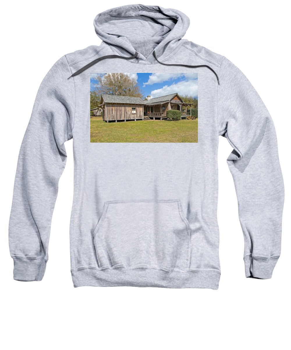 Cabin Sweatshirt featuring the photograph 1912 Simmons Farm In Christmas Florida by Allan Hughes