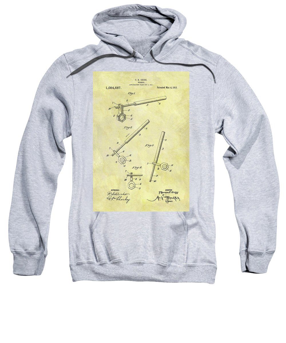 1913 Wrench Patent Sweatshirt featuring the drawing 1913 Wrench Patent by Dan Sproul
