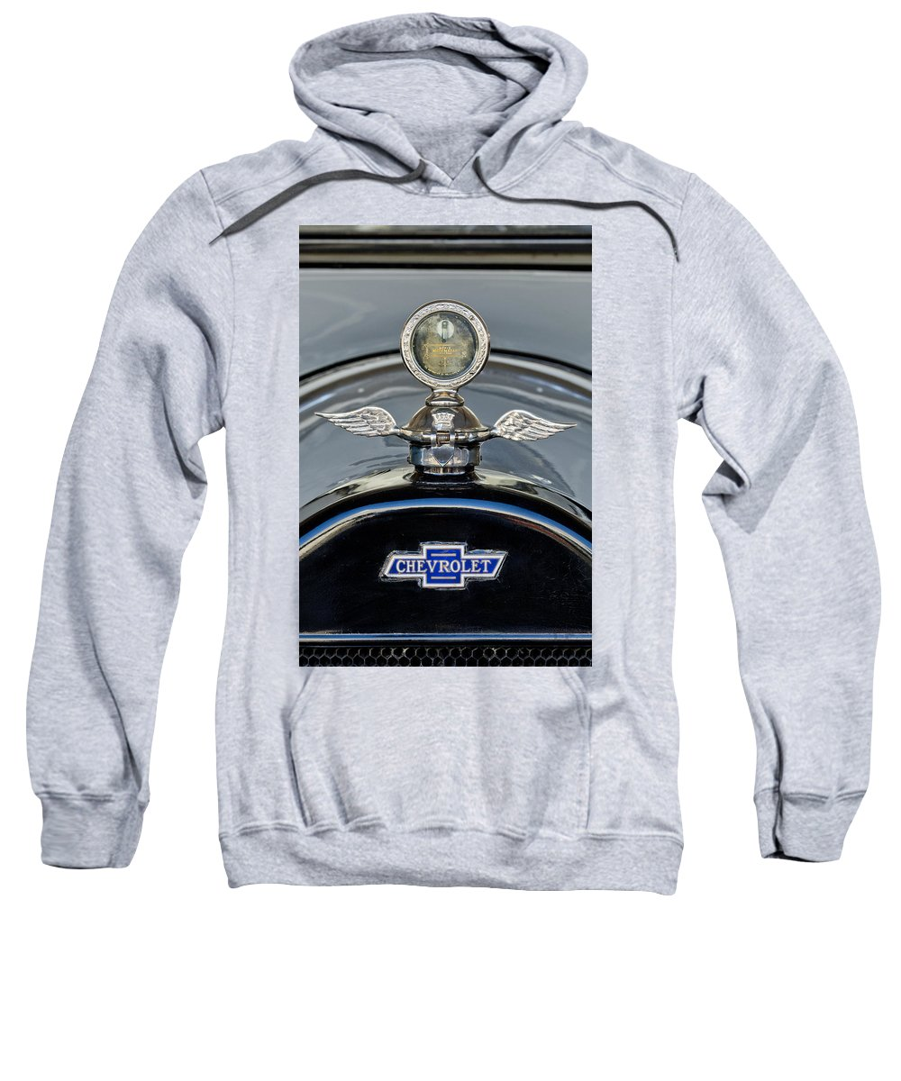 1915 Chevrolet Touring Sweatshirt featuring the photograph 1915 Chevrolet Touring Hood Ornament 2 by Jill Reger