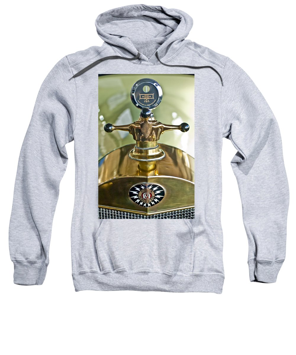 1917 Owen Magnetic M-25 Touring Sweatshirt featuring the photograph 1917 Owen Magnetic M-25 Hood Ornament 2 by Jill Reger