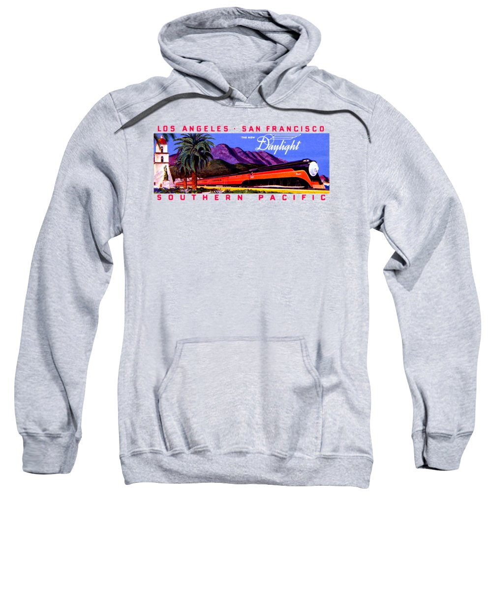 Vintage Sweatshirt featuring the painting 1922 Daylight Railroad Train by Historic Image