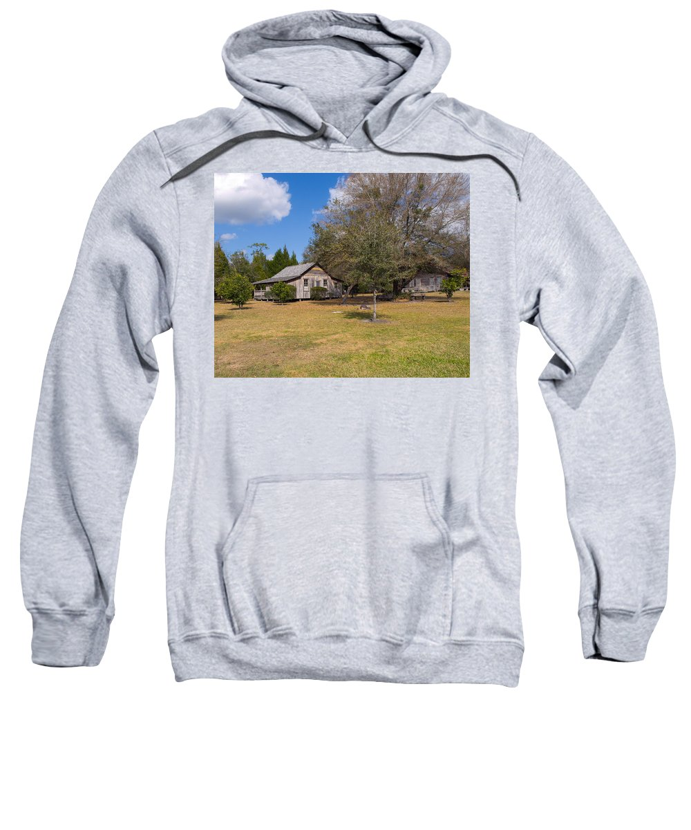 Cabin Sweatshirt featuring the photograph 1927 Woods Home In Christmas Florida by Allan Hughes
