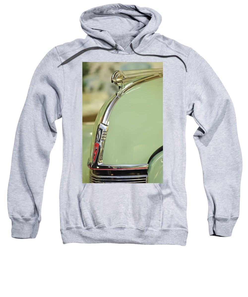 1040 Oldsmobile Convertible Sweatshirt featuring the photograph 1940 Oldsmobile Hood Ornament 2 by Jill Reger