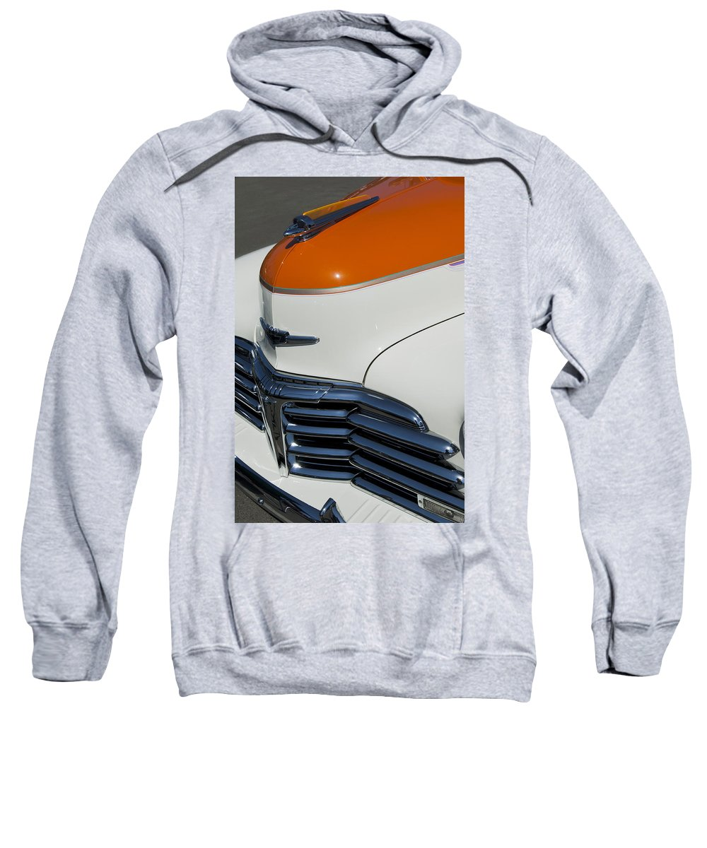 1947 Chevrolet Deluxe Sweatshirt featuring the photograph 1947 Chevrolet Deluxe Front End by Jill Reger