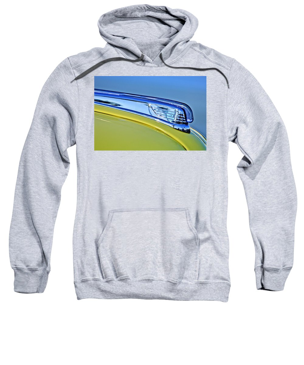 1947 Ford Super Deluxe Sweatshirt featuring the photograph 1947 Ford Super Deluxe Hood Ornament 2 by Jill Reger
