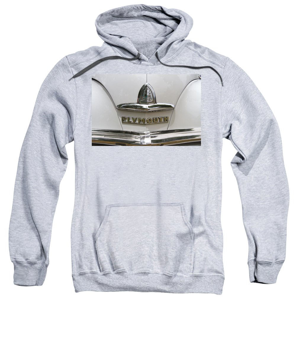 1946 Sweatshirt featuring the photograph 1948 Plymouth Hood Logo by Nick Gray