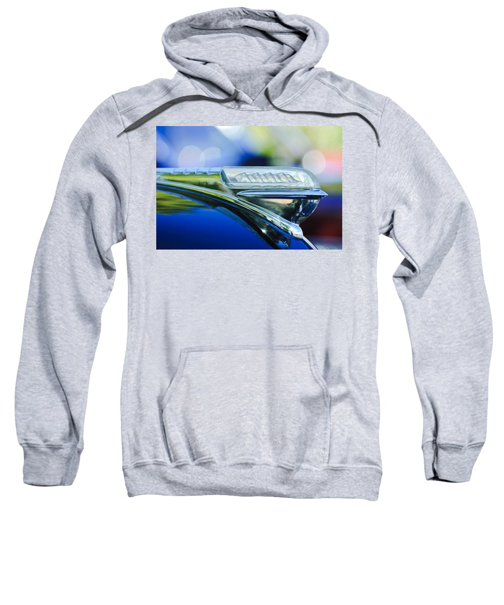 1948 Plymouth Sweatshirt featuring the photograph 1948 Plymouth Hood Ornament by Jill Reger