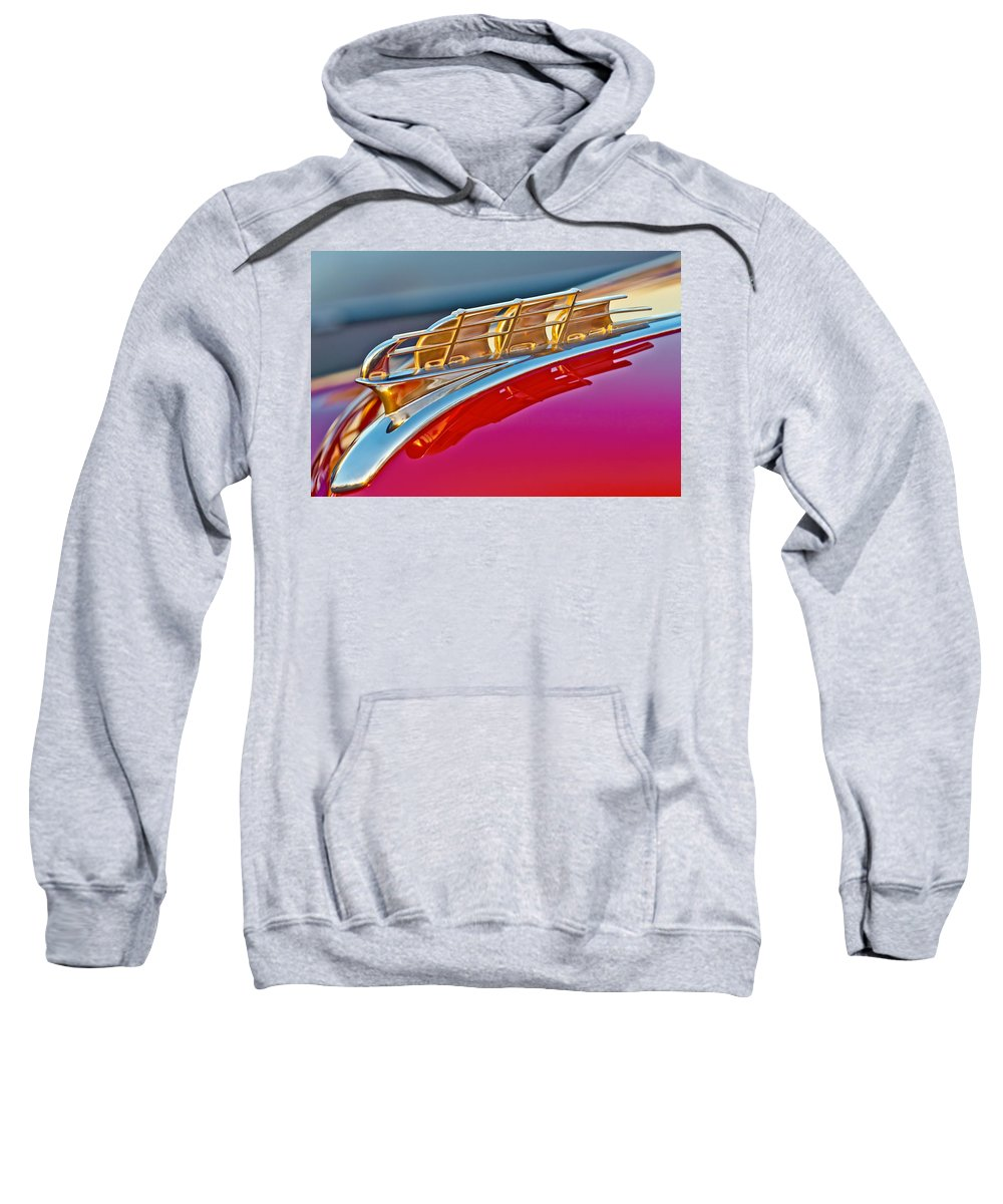 1949 Plymouth Sweatshirt featuring the photograph 1949 Plymouth Hood Ornament by Jill Reger