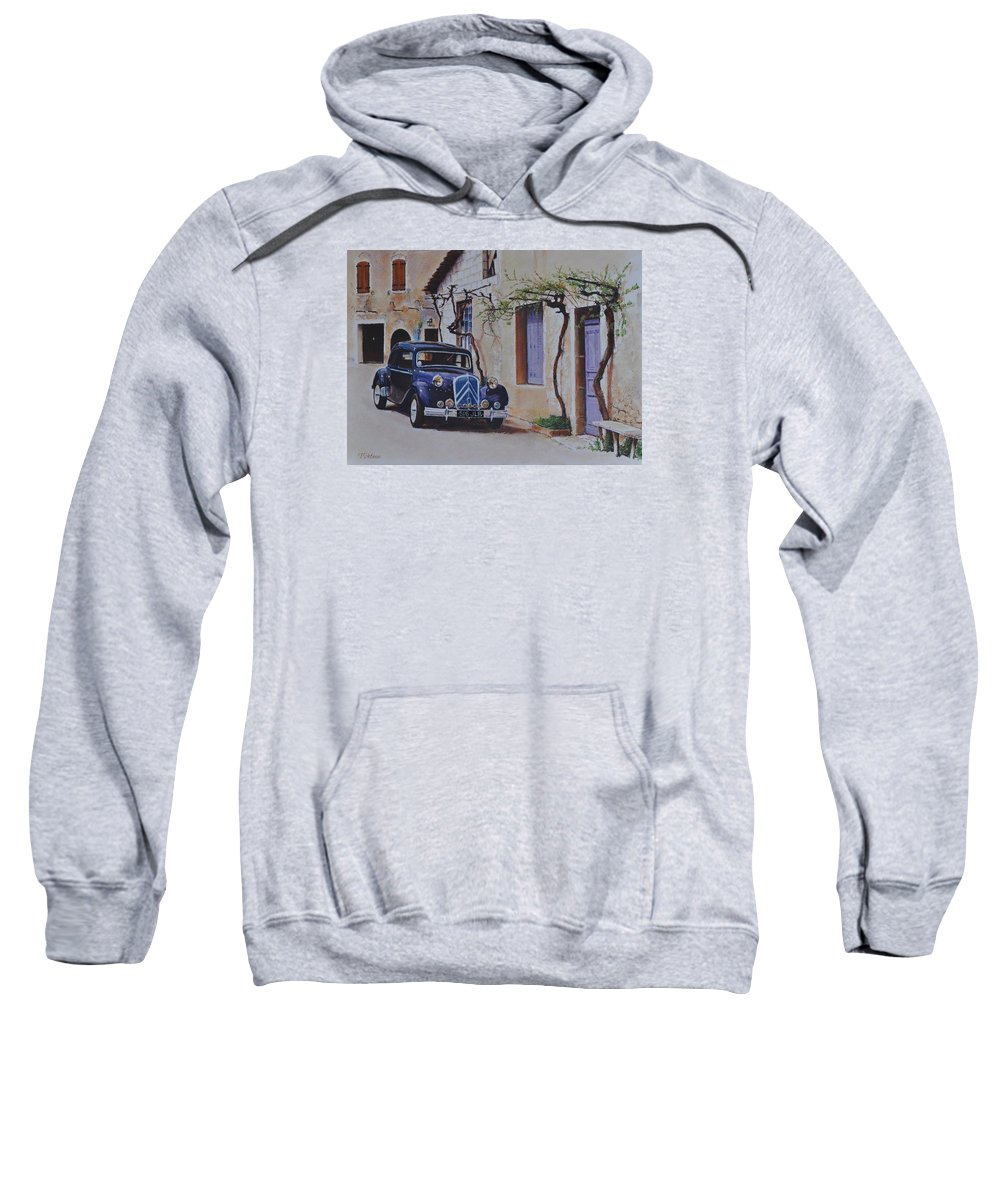 Classic Cars Sweatshirt featuring the pastel 1951's Citroen by Iliyan Bozhanov
