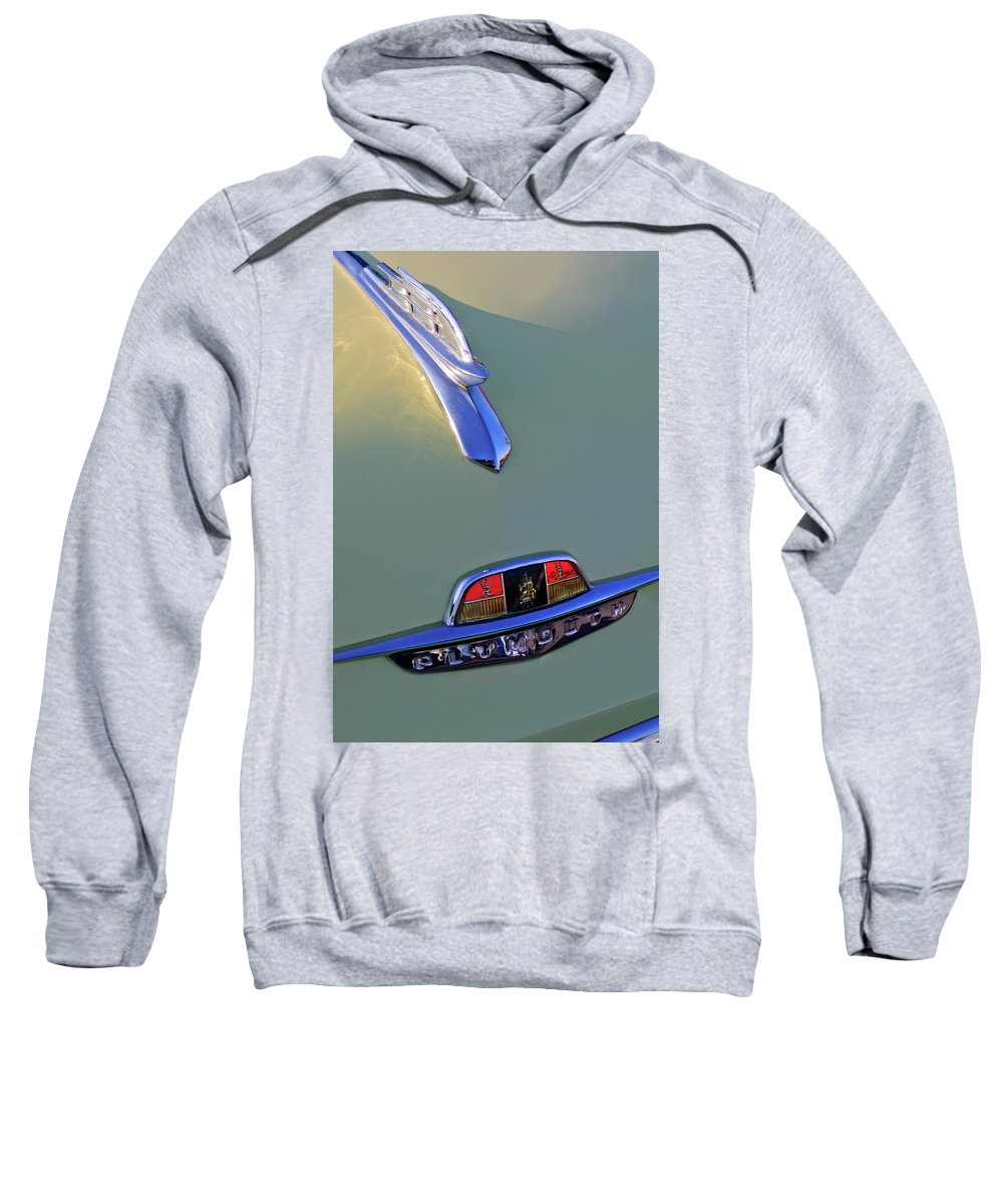 1953 Plymouth Sweatshirt featuring the photograph 1953 Plymouth Hood Ornament by Jill Reger