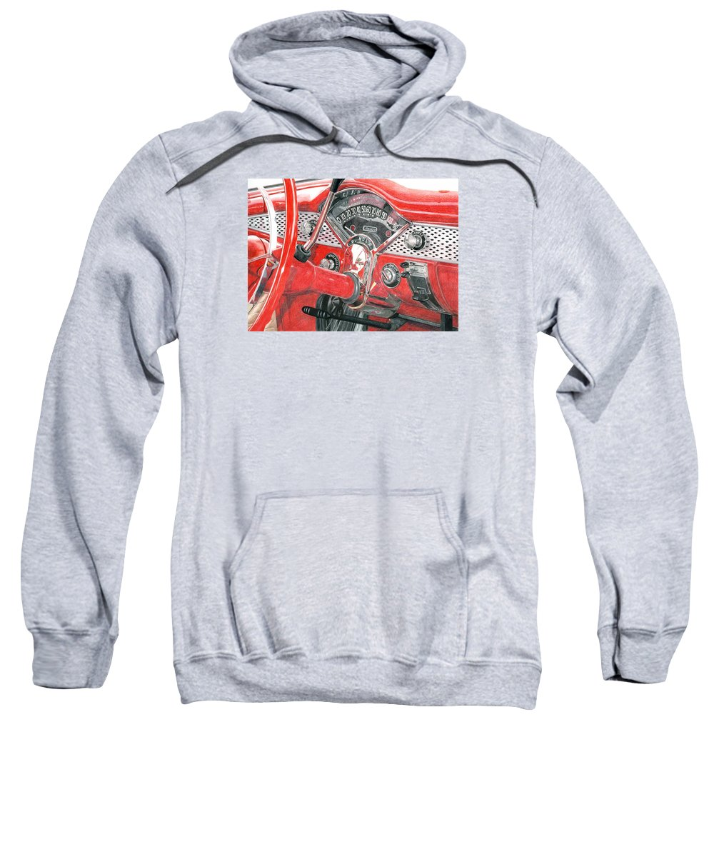 Classic Sweatshirt featuring the drawing 1955 Chevrolet Bel Air by Rob De Vries