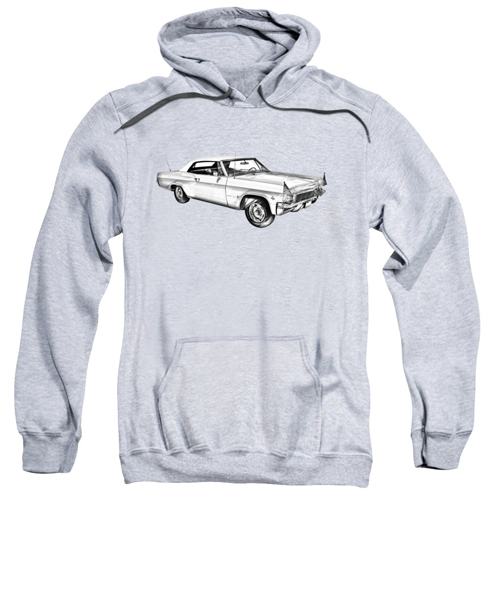 Car Sweatshirt featuring the photograph 1965 Chevy Impala 327 Convertible Illuistration by Keith Webber Jr