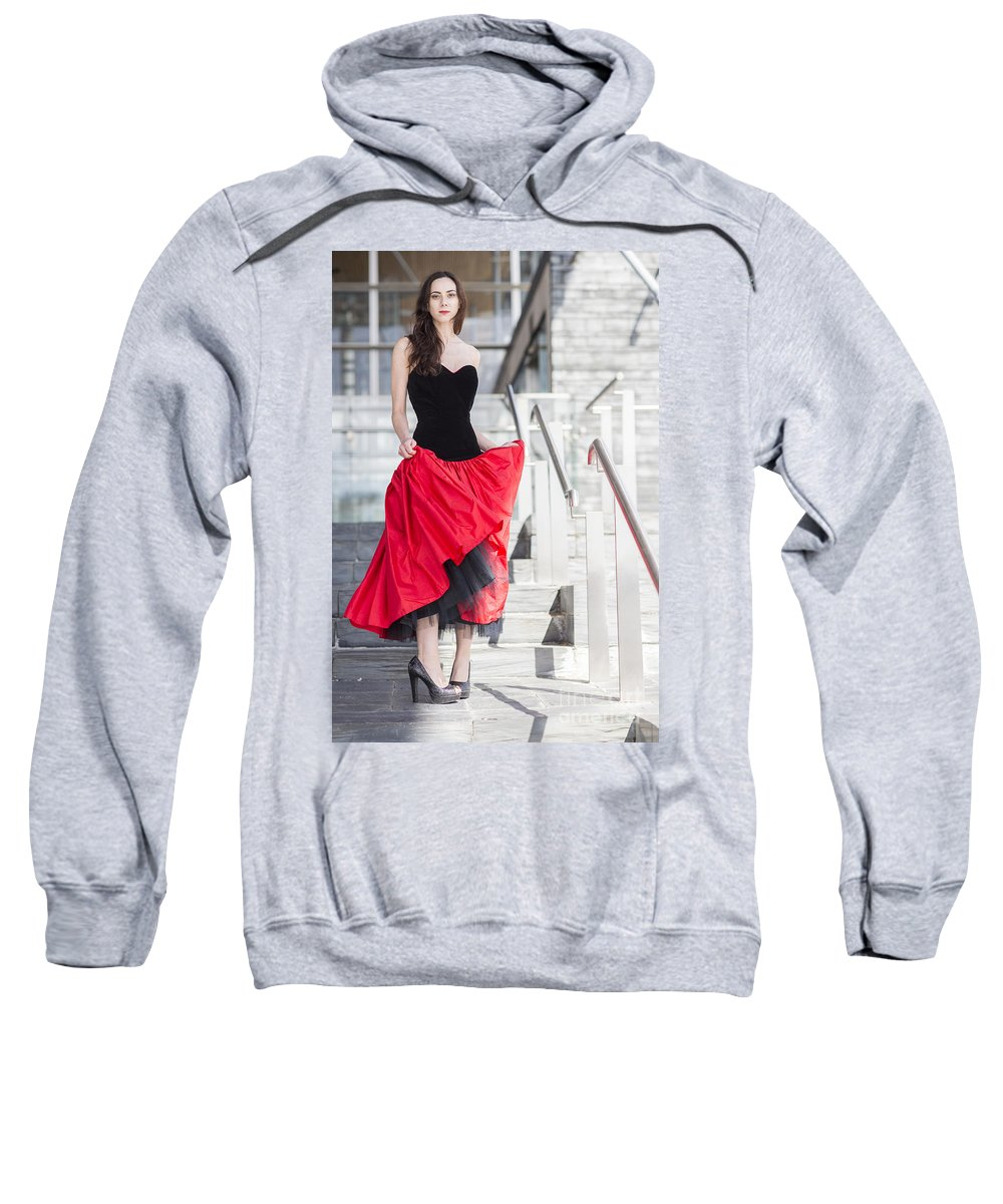 Model Photo Shoot For Revetir By Jenny Potter Sweatshirt featuring the photograph Fashion Shoot by Jenny Potter