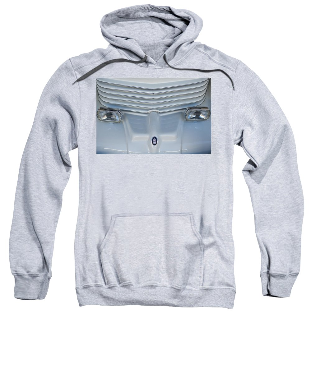 1970 Cord Royale Sweatshirt featuring the photograph 1970 Cord Royale Grille Hood Ornament by Jill Reger